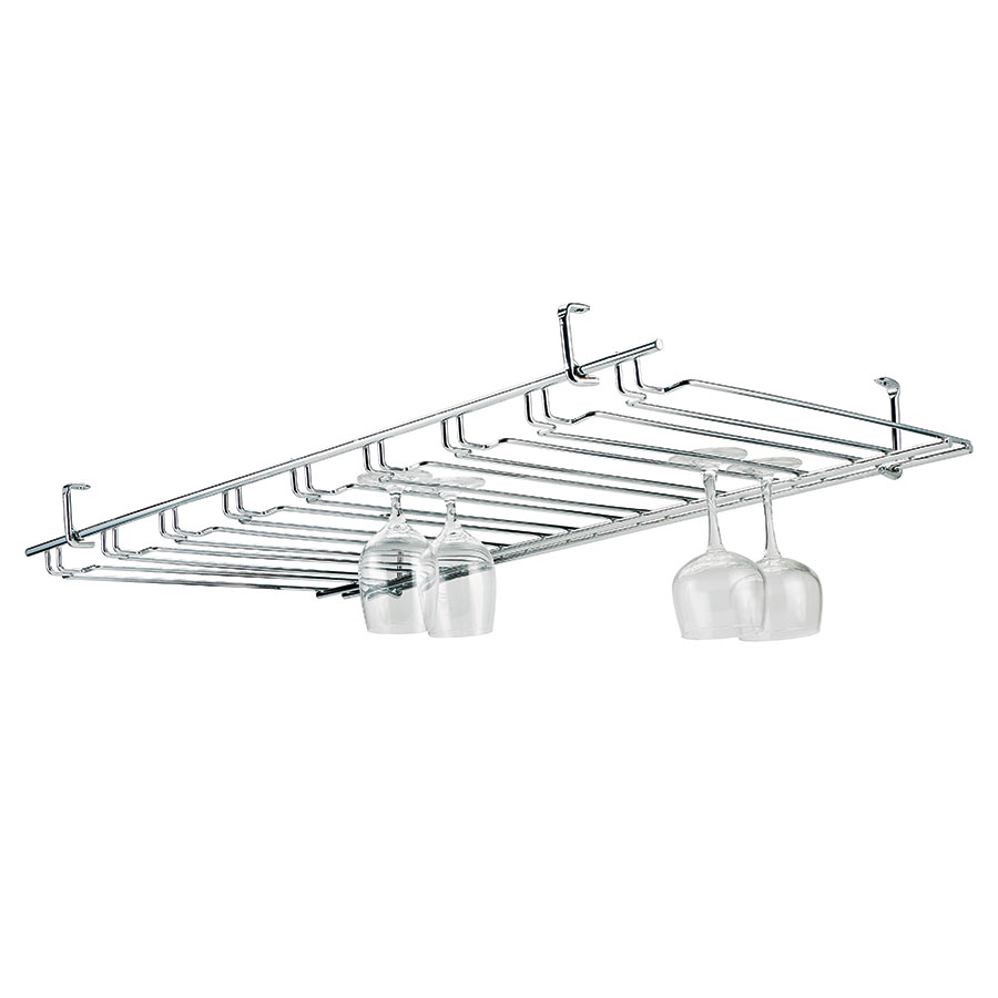 Browne Foodservice 57184850 Overhead Glass Hanger/ Rack, 11 Slot, Chrome