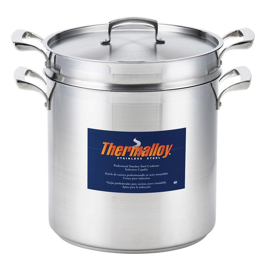 "Browne Halco 5724072 10.25"" Stainless Steel Double Boiler w/ 12-qt Capacity"