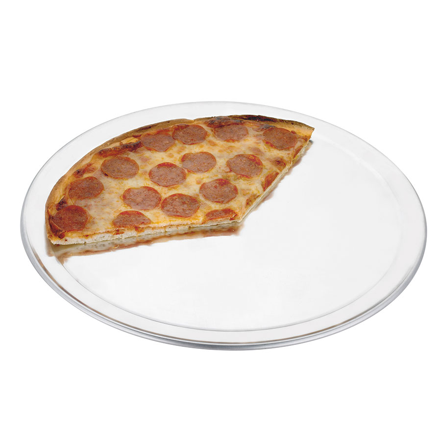 "Browne 57 30032 12""Wide Rim Pizza Pan, Aluminum, Natural Finish"