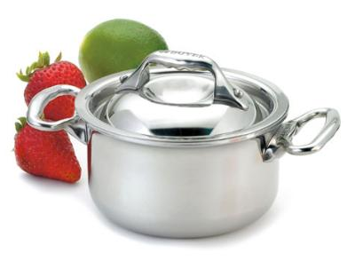 Browne Foodservice 57374209 Mini Stew Pan, 10 oz, Cover, Riveted Handles, Stainless Steel