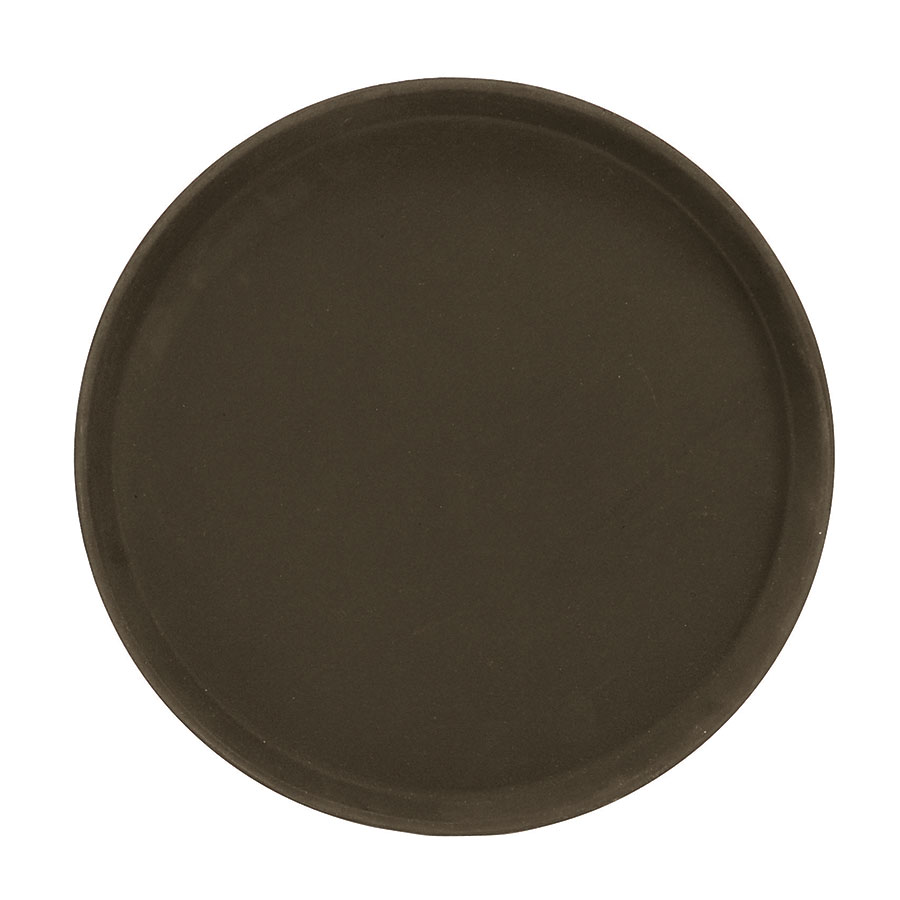 "Browne Halco 57410206 14"" Round Tray, Anti-Slip Rubber Coating, Brown Fiberglass"