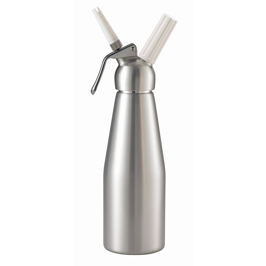 Browne 574351 Whipped Cream Dispenser, 34 oz, Two Nozzles, Aluminum
