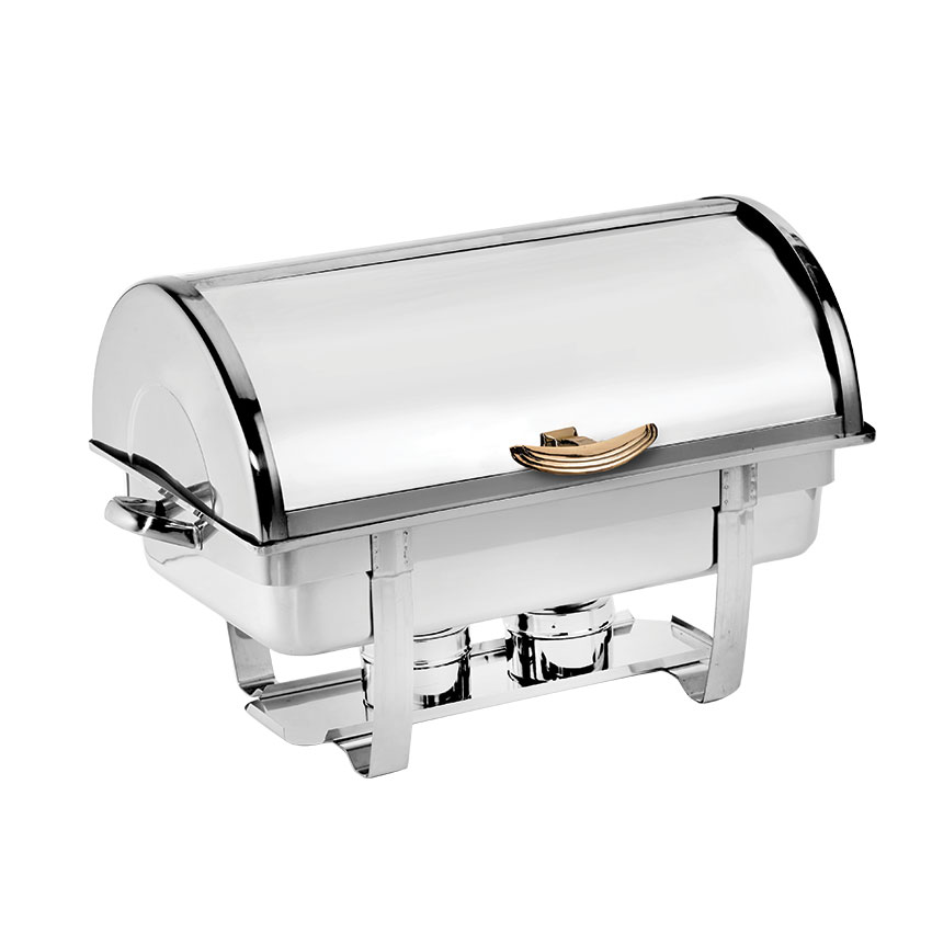 Browne Halco 575135 Full Size Roll Top Chafer, Mirror Stainless w/ Gold Tone Accents