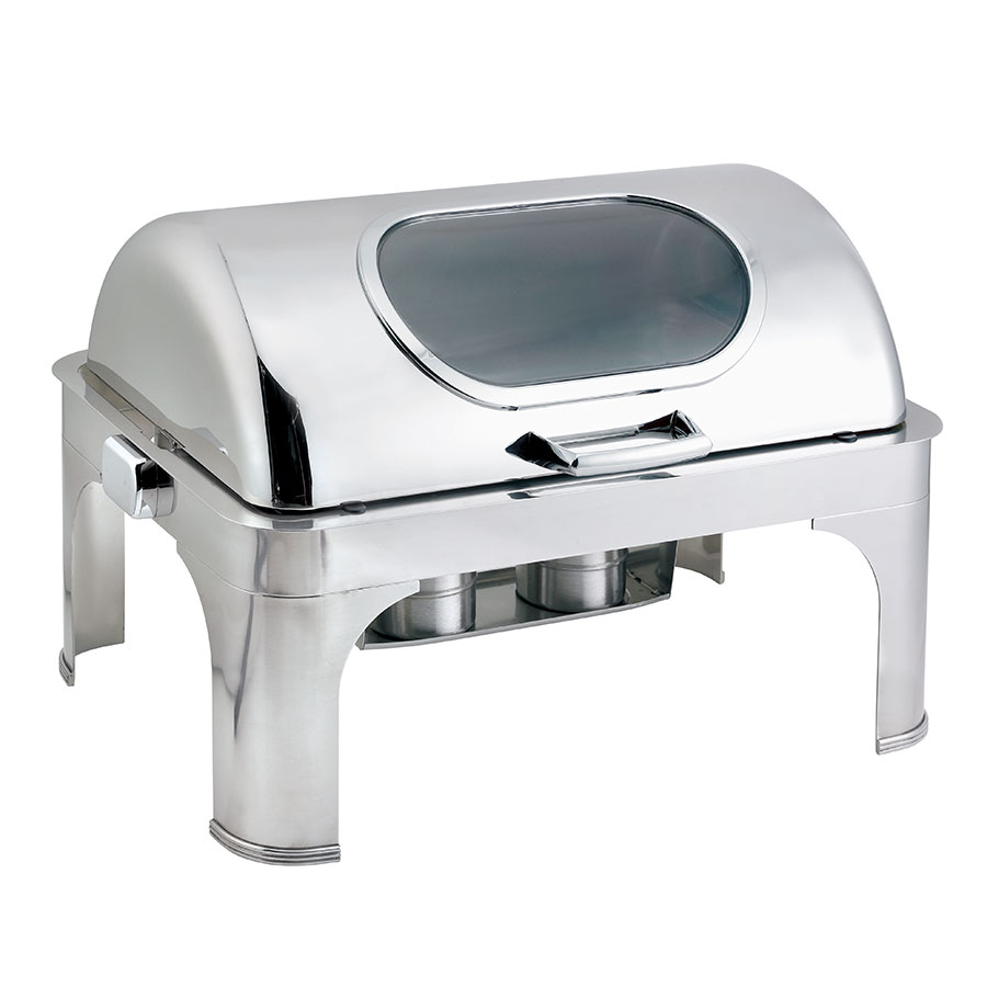 Browne Halco 575166 Full Size Roll Top Chafer, Stainless w/ Nautilus Window