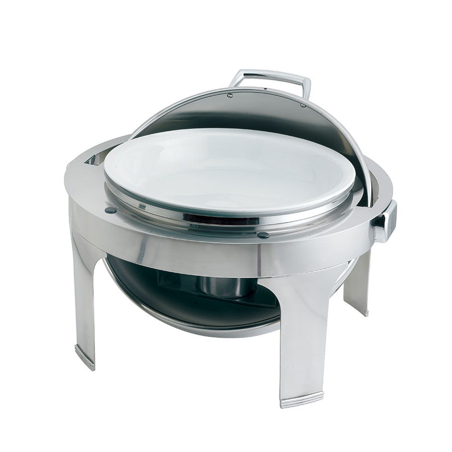 Browne 575176 Round Chafer w/ Roll-Top Lid & Chafing Fuel Heat