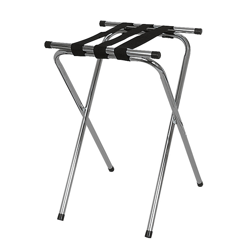 Browne Halco 575696 Deluxe Tray Stand w/ Double Bar & 3-Straps, Chrome Plated