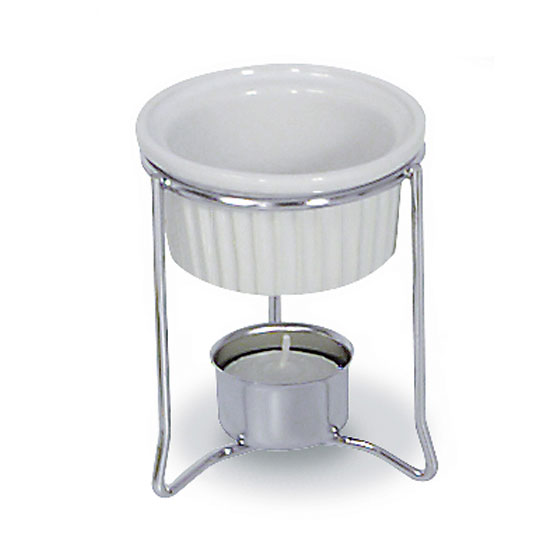 Browne 575767 Butter Warmer, with Ceramic Pot, Chrome Plated