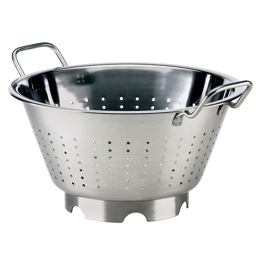 "Browne Halco 575950 12.75"" Round European Colander, 7.25-qt, Stainless, Mirror Finish"