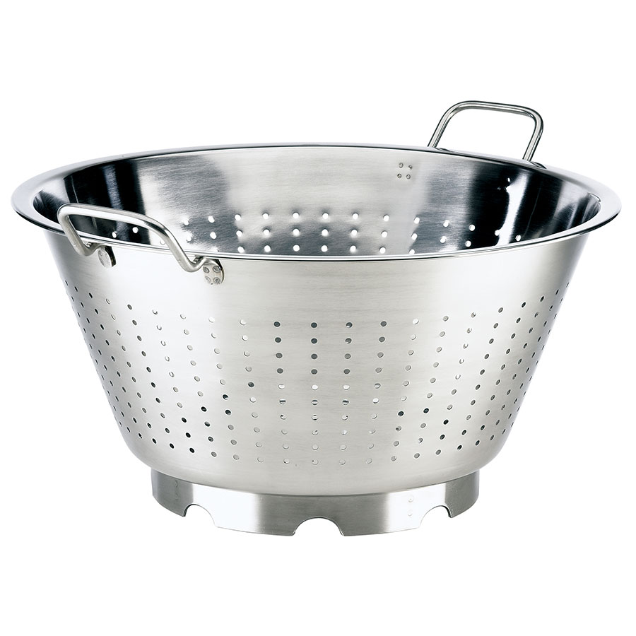 "Browne Halco 575952 16.5"" Round European Colander, 16-qt, Loop Handles, Stainless, Mirror Finish"