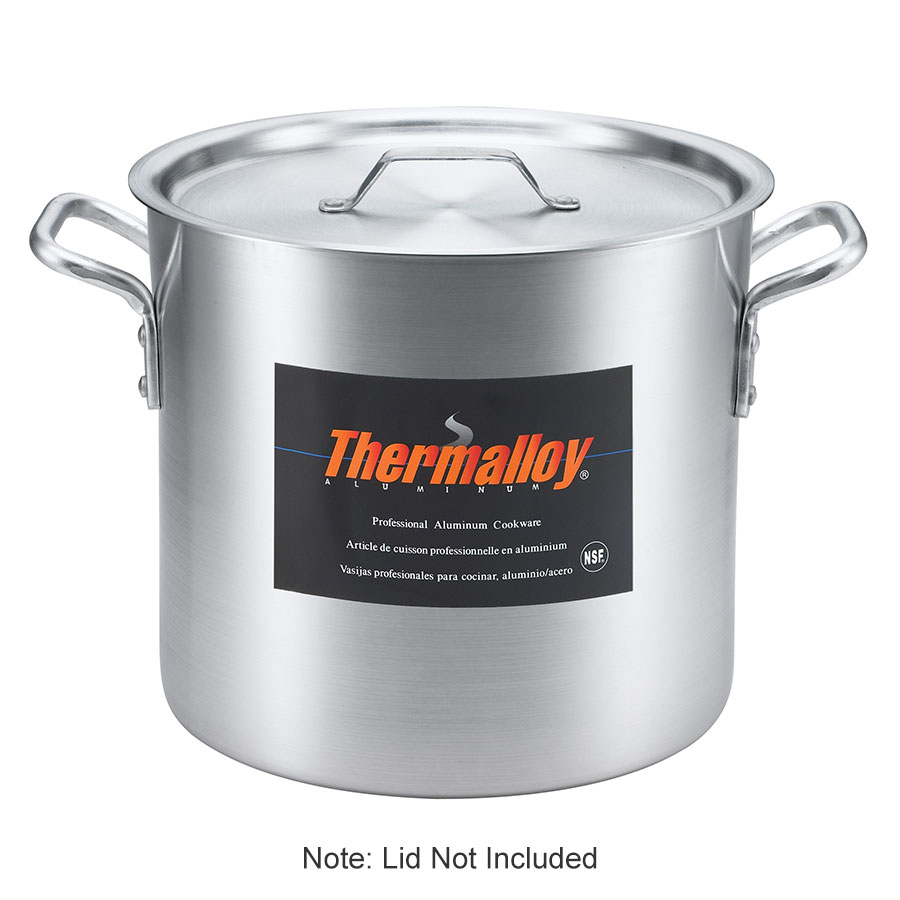 Browne Halco 5814260 Thermalloy Heavy Duty Stock Pot, 160 qt, No Cover, Aluminum, 6.0 mm