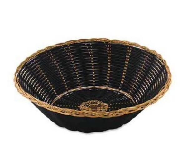Browne Foodservice 589BG Vinyl Basket, 8 - 1/4 x 2 - 1/2 in, Round, Black Vinyl with Gold Wire Trim