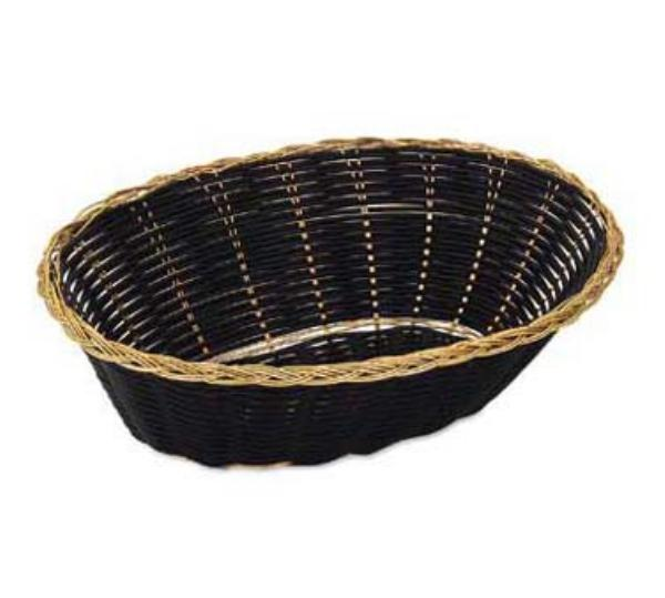 Browne Foodservice 599 Vinyl Basket, 9-1/2 in x 6-3/4 x 2-3/4 in, Oval, Black with Gold Rim