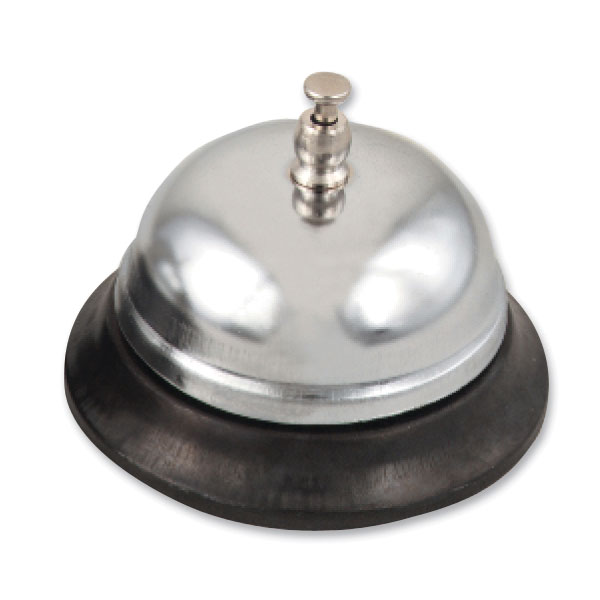 Browne Halco 715 Call Bell, 3 in Diameter, Nickel-Plated Bell, Plastic Base