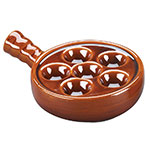 Browne Halco 744045 Ceramic Escargot Plate, 5 in Diameter, With Side Handle, Brown