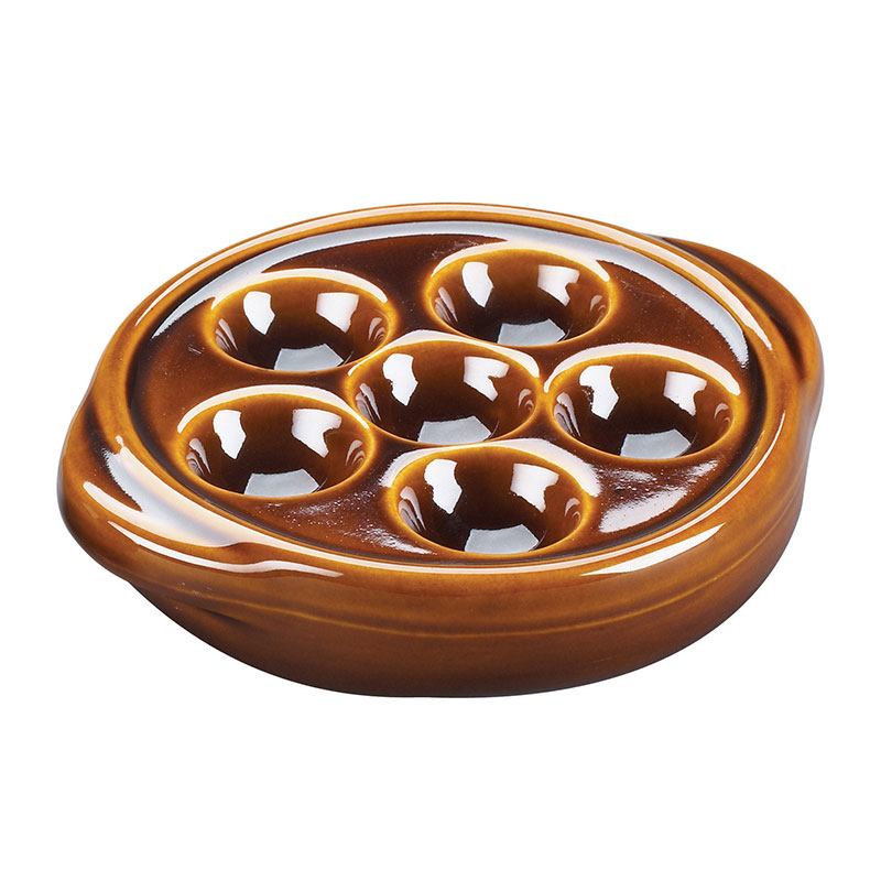 "Browne Halco 744046 Ceramic Escargot Plate, 5""Diameter, No Side Handle, Brown"