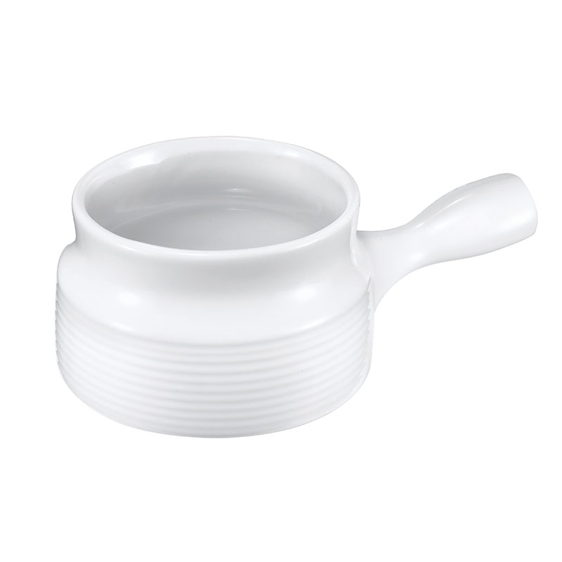 Browne Halco 744048W 16 oz Ceramic Onion Soup Bowl, With Side Handle, White