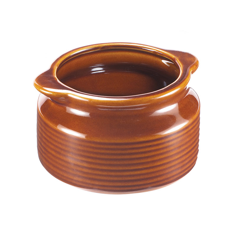 Browne Halco 744049BR 12 oz Ceramic Onion Soup Bowl, No Side Handle, Brown