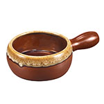 Browne Halco 744053BR 18 oz Ceramic Onion Soup Bowl, With Side Handle, Brown
