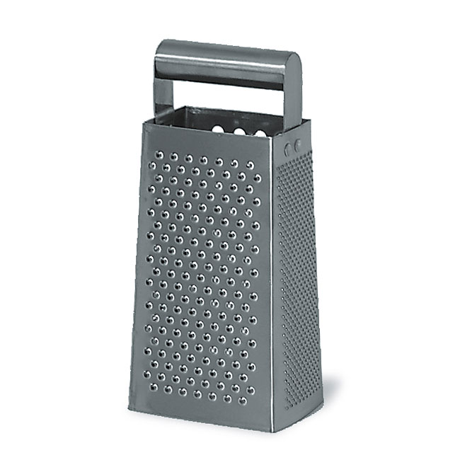 Browne Halco 746127 Box Grater, Stainless Steel, Round Handle