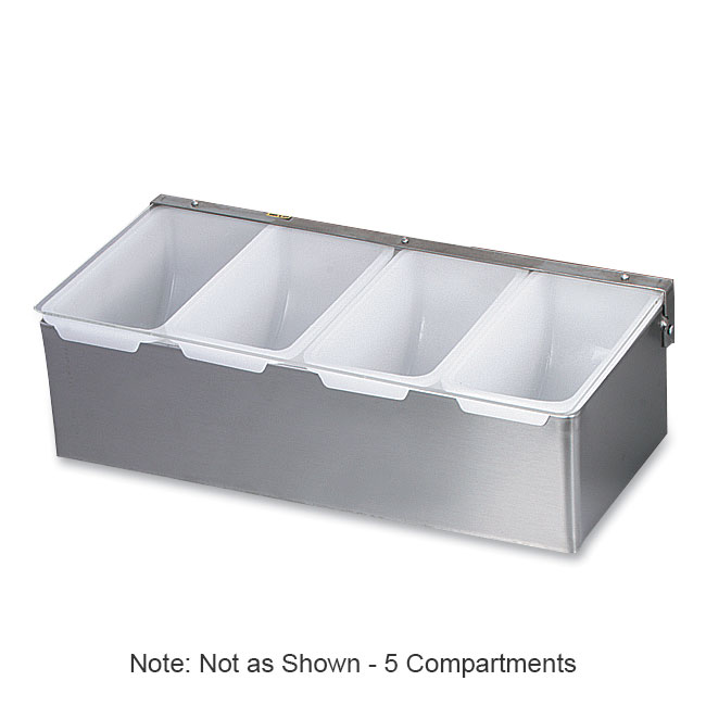 Browne Foodservice 79302 Bar Caddy, 5 Compartment, Clear Plastic Hinged Cover