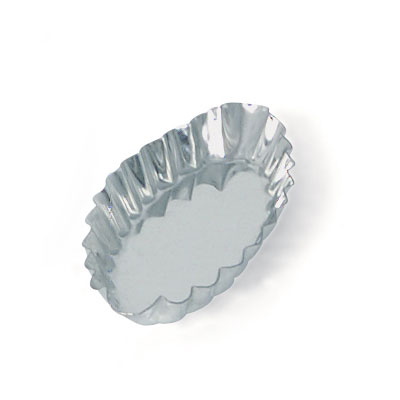 Browne Foodservice 80194130 Boat Tartelette Mould, 4 in, Fluted, Tin