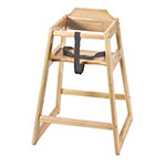 Browne Foodservice 80973 Baby High Chair, 27-1/4 in High, Natural Wood Finish, Wide Stance, Unassembled