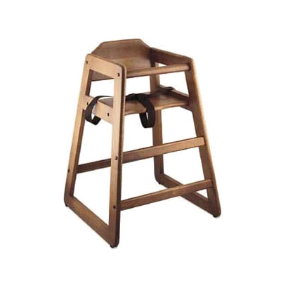 Browne Foodservice 80976 Unassembled Baby High Chair, 27-1/4 in High, Walnut Wood Finish