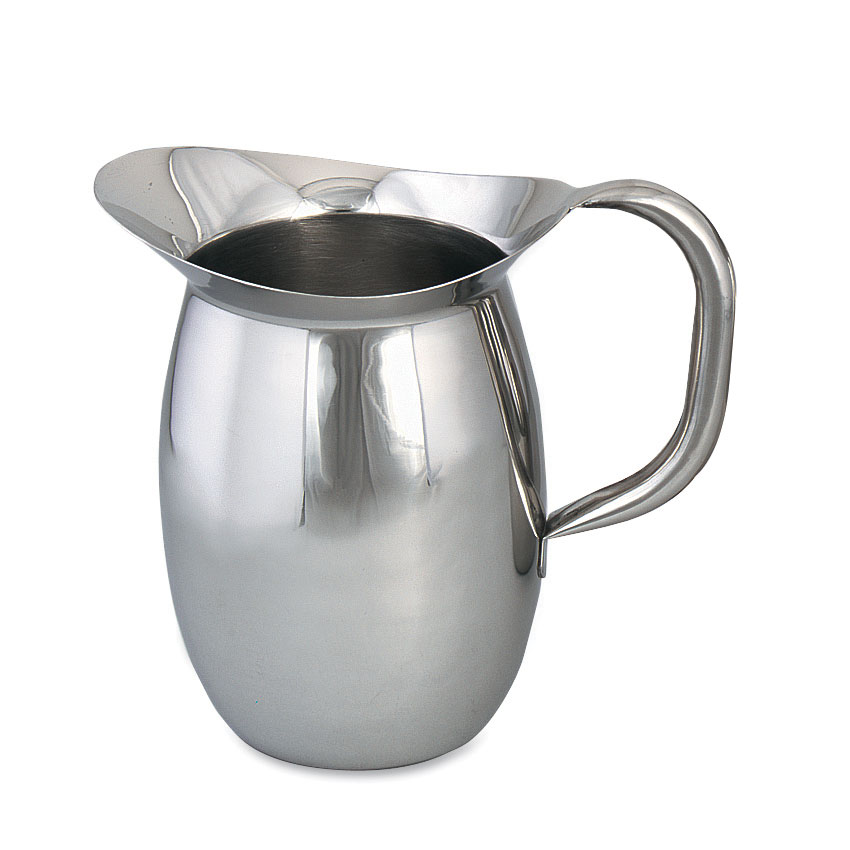 Browne Foodservice 8203 Bell Shaped Pitcher, 3-1/8 qt, Stainless w/ Tubular Handle