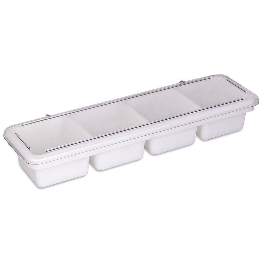 Browne Foodservice B35C Bar Caddy/Condiment Tray, 4 Compartments, each 4 x 4 in x 2-3/4 in, with Cover