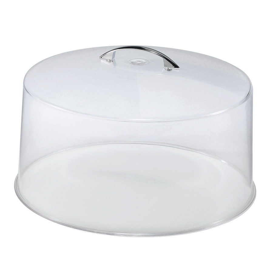 "Browne Halco CK20512 12"" Round Cake Cover, Clear With Chrome Handle"
