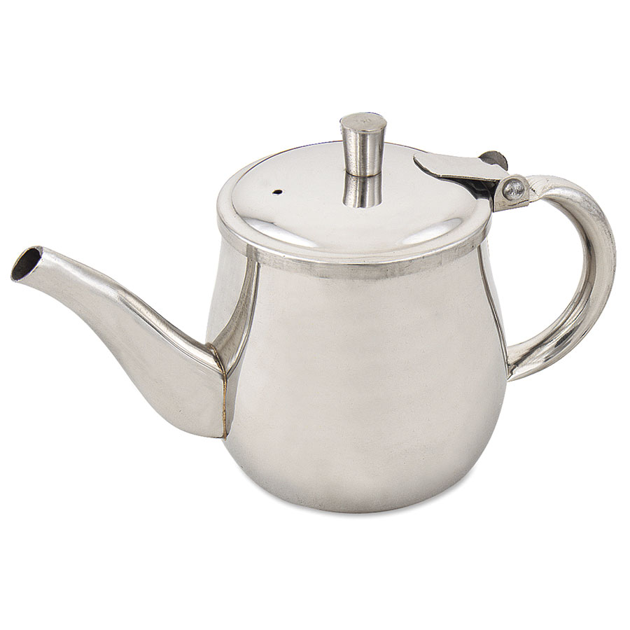 Browne Halco CT1 Gooseneck Teapot w/ 10-oz Capacity, Hinged Lid & Hollow Handle, Stainless