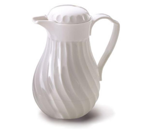 Browne Halco IP4022W40P Beverage Pitcher 40 oz Insulated Plastic Thumb Lever White Restaurant Supply
