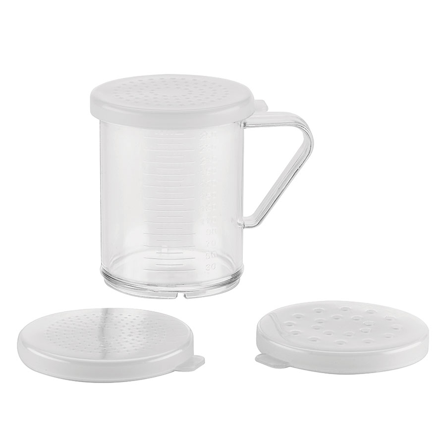 Browne Foodservice PD3573 Dredge Set, with 3 Lids (Small, Medium, & Large Holes), Plastic