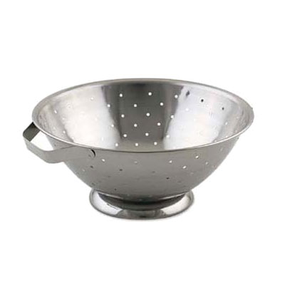 Browne Foodservice R27 Colander, 5 qt, 10-1/2 in, Footed, Side Handles, Dent-Resistant