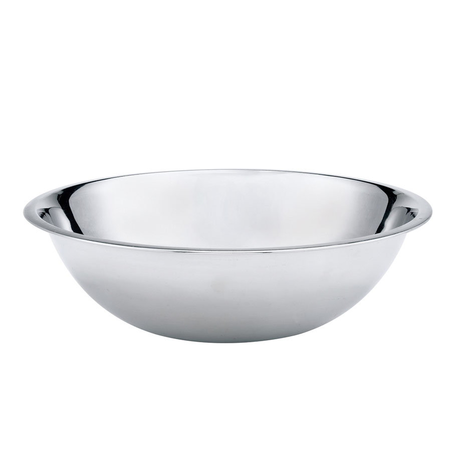 Browne Halco S781 Mixing Bowl, 20 qt, Rolled Edge, Mirror Polished, 700 Series