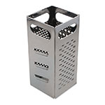 "Browne SSG449 Grater - 4x4x9"", Coarse Shredder, Medium Shredder, Slicer, Julienne Cut, Stainless Steel"