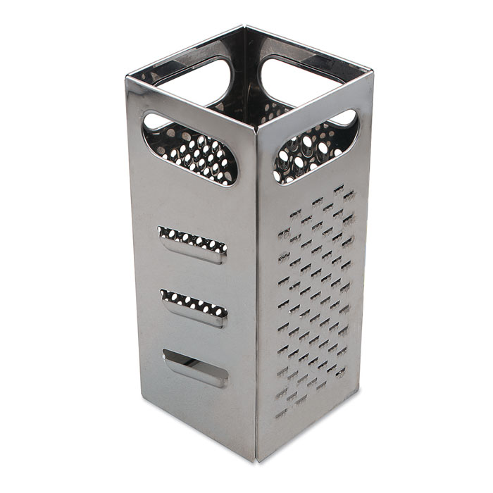 "Browne Foodservice SSG449 Grater - 4x4x9"", Coarse Shredder, Medium Shredder, Slicer, Julienne Cut, Stainless Steel"