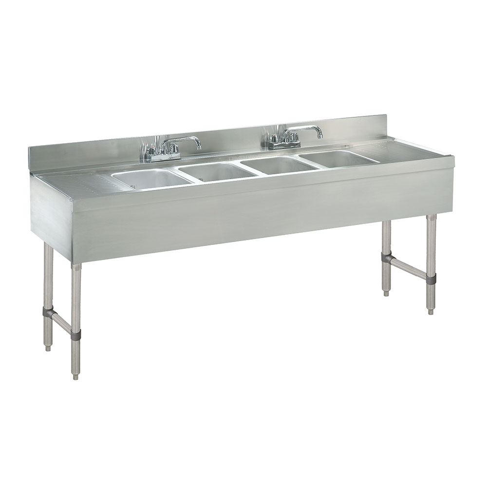 Supreme Metal SLB-64C-X Bar Sink w/ 4-Compartments & 4-in Splash, 12-in L&R Drainboard