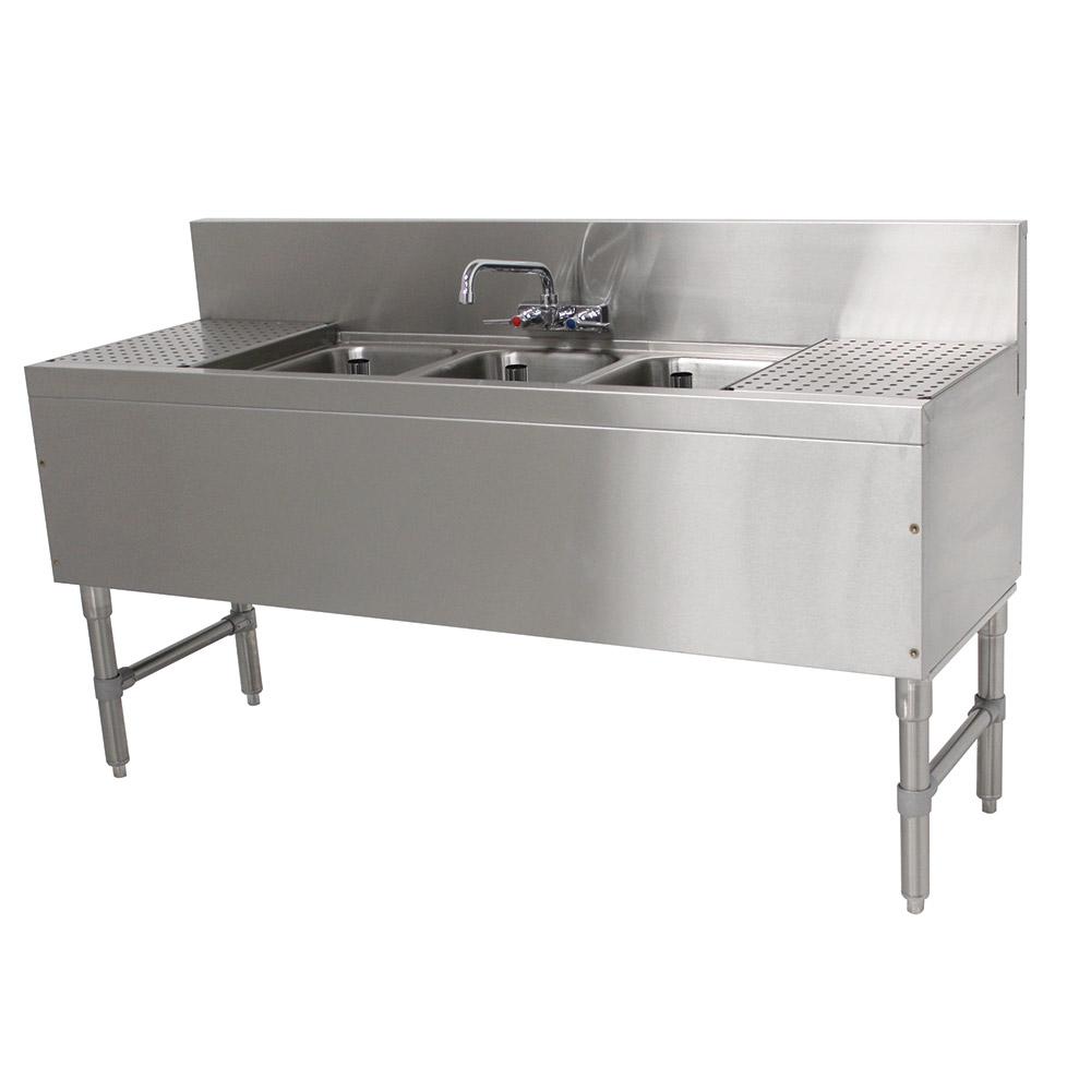 Supreme Metal PRB1953C 3-Compartment Bar Sink w/ 2-Drainboards & Splash Mount Faucet