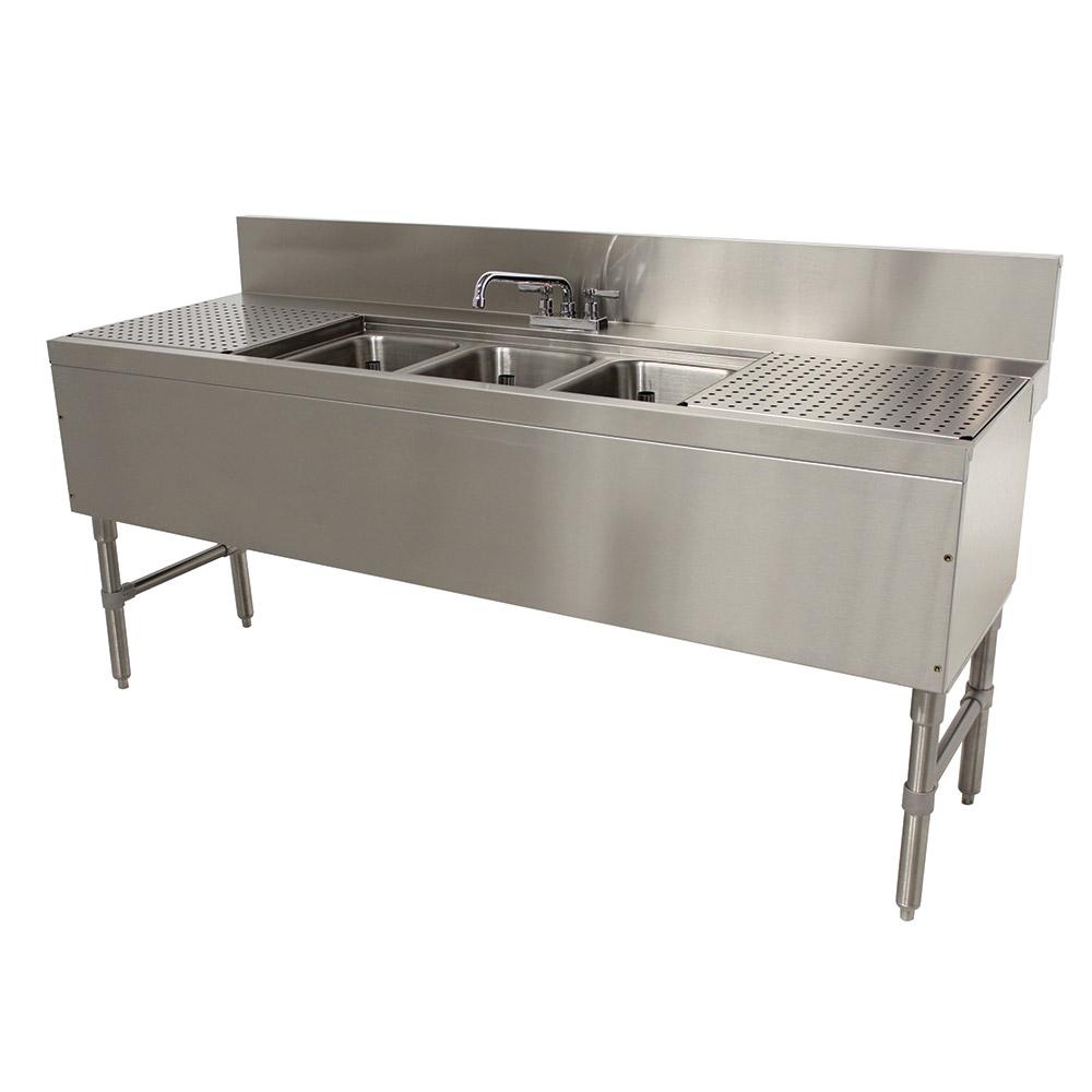 Supreme Metal PRB2483C 3-Compartment Bar Sink w/ 2-Drainboards & Deck Mount Faucet