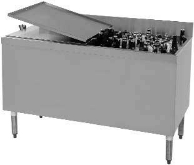 """Supreme Metal CRBB-48-LC 48"""" Ice Well 288-Capacity Bottle Cooler - Stainless Interior"""