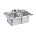 Supreme Metal DBS-3 36-in Drop-In Bar Sink w/ (3) 10-in Deepwells & Faucet