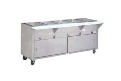 Supreme Metal HF-4E-120-DR-SS 34-in Hot Food Table w/ 4-Stainless Wells, Cabinet Base w/ Sliding Doors
