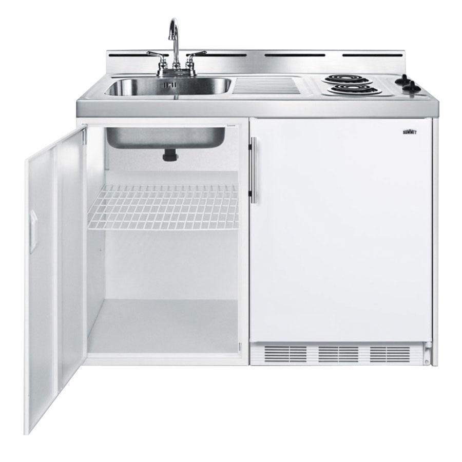 "Summit C48EL 48"" Combo Kitchen w/ 2-Burners, Refrigerator, Freezer & Manual Defrost, 5.1-cu ft"