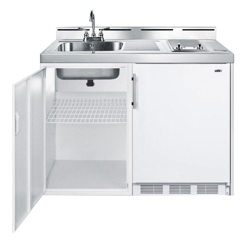 "Summit C48ELGLASS 48"" All-in-One Combo Kitchen - Refrigerator, Freezer, 2-Burner, 1-Cabinet, 115v"