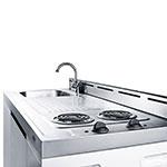 "Summit C60EL 60"" All-in-One Combo Kitchen - Refrigerator, Freezer, 2-Burner, 2-Cabinet, 115v"