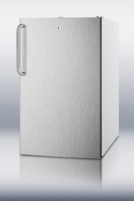 Summit Refrigeration CM411LBISSTB 20-in Refrigerator Freezer w/ Manual Defrost & Curved Towel Bar Handle, White, 4.1-cu ft