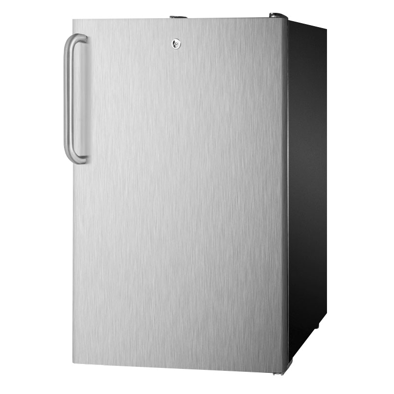 Summit CM421BLBI7SSTB 20-in Undercounter Refrigerator Freezer w/ Front Lock, Black/Stainless, 4.1-cu ft