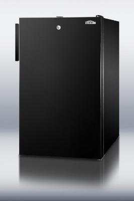 Summit Refrigeration CM421BLBI 20-in Freestanding Refrigerator Freezer w/ Lock & Manual Defrost, Jet Black, 4.1-cu ft