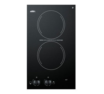 Summit Refrigeration CR2220 230 6-in Cook Top w/ Push To Turn Controls & Residual Heat Light, Ceramic, 220/1V, Jet Black
